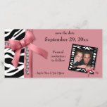 """Pink And White Zebra Gems Save The Date Card<br><div class=""""desc"""">Printed Pink ribbon and silver pearls with black and white zebra stripes decorate this contemporary save the date announcement. Upload your own photo to the funky zebra frame to further personalize the look. There is plenty of customizable text on this trendy design to add your information. We also have this...</div>"""