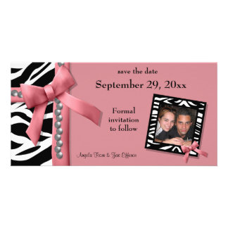 Pink And White Zebra Gems Save The Date Card Photo Cards