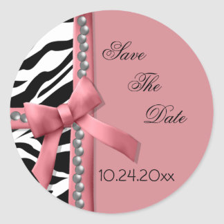 Pink And White Zebra Gems Round Stickers