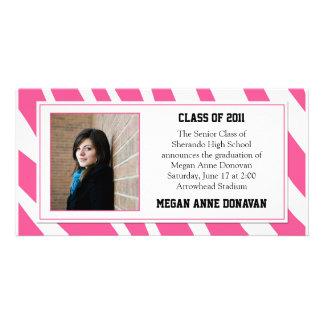 Pink and White Zebra Photo Graduation Invitation