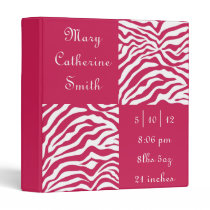 Pink and White Zebra Print Baby Book 3 Ring Binders