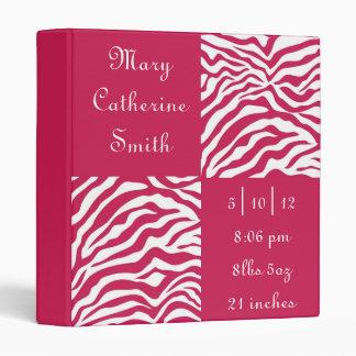 Pink and White Zebra Print Baby Book 3 Ring Binders