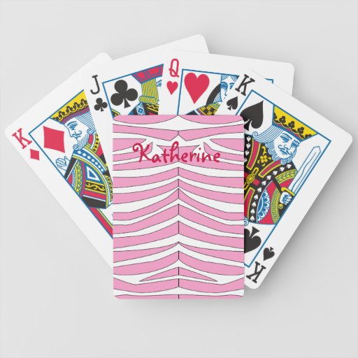 Pink and White Zebra Print Personalized Cards Card Deck