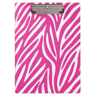 Pink and White Zebra Stripe Pattern Clipboard