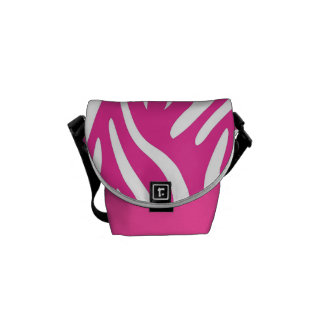Pink and White Zebra Stripe pattern Courier Bag