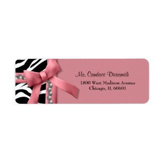 Pink And White Zebra Stripe With Silver Gems Label