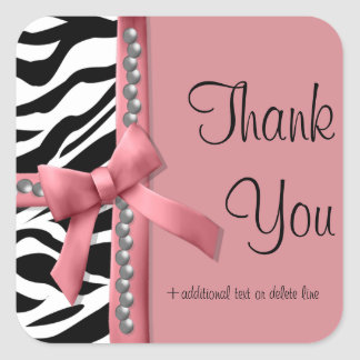 Pink And White Zebra Striped With Silver Pearls Square Sticker