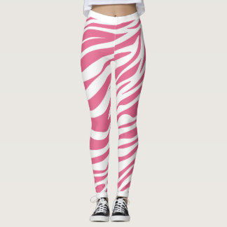 Pink And White Zebra Stripes Leggings