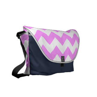 Pink and White Zigzag Messenger Bag