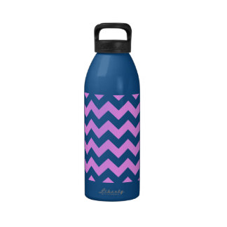 Pink and White Zigzag Reusable Water Bottle