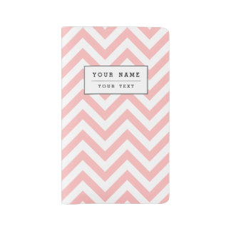 Pink and White Zigzag Stripes Chevron Pattern Large Moleskine Notebook