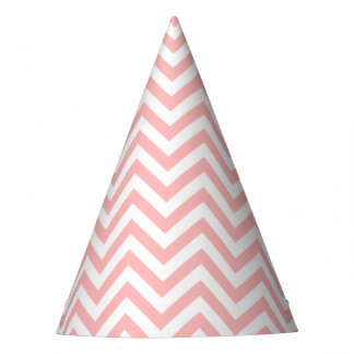 Pink and White Zigzag Stripes Chevron Pattern Party Hat