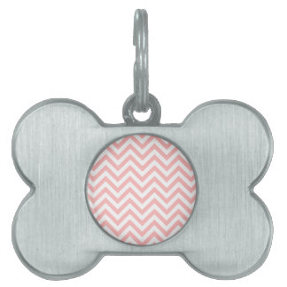 Pink and White Zigzag Stripes Chevron Pattern Pet Name Tag