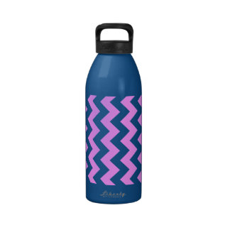 Pink and White Zigzag Water Bottles
