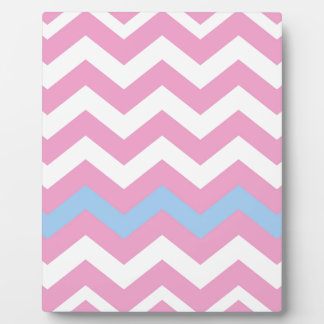 Pink and White Zigzag With Light Blue Border Plaque