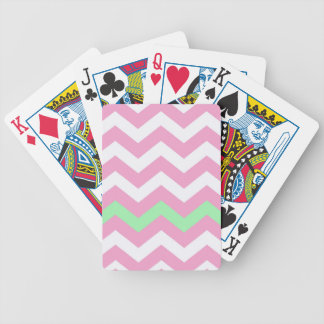 Pink and White Zigzag With Mint Green Border Bicycle Playing Cards