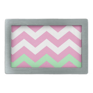 Pink and White Zigzag With Mint Green Border Rectangular Belt Buckle