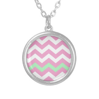 Pink and White Zigzag With Mint Green Border Round Pendant Necklace