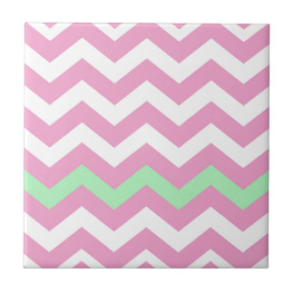 Pink and White Zigzag With Mint Green Border Tile