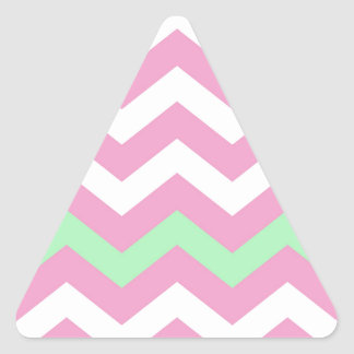 Pink and White Zigzag With Mint Green Border Triangle Sticker