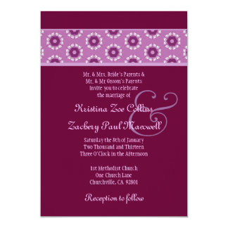 Pink and Wine Retro Flowers Wedding Ver 2 F529 Card