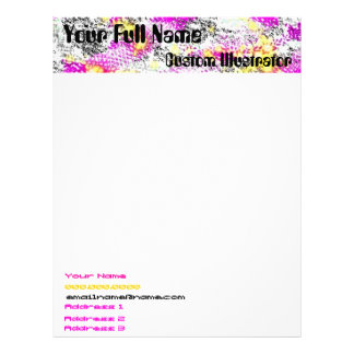 Pink and Yellow Abstract Sunburst Letterhead