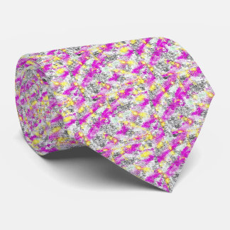 Pink and Yellow Abstract Sunburst Tie