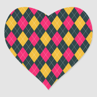 Pink and Yellow Argyle Print Heart Sticker