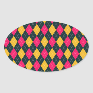 Pink and Yellow Argyle Print Oval Sticker