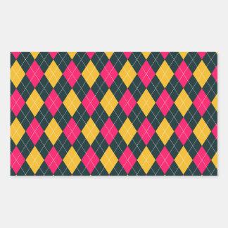 Pink and Yellow Argyle Print Rectangular Sticker
