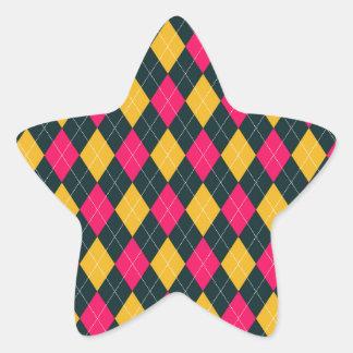 Pink and Yellow Argyle Print Star Sticker