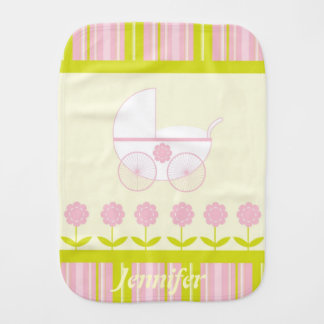 Pink and Yellow Baby Burp Cloth