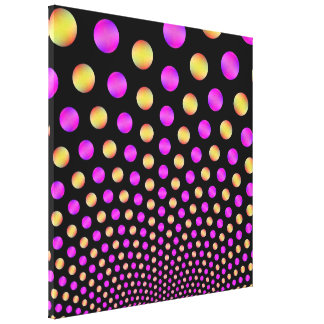 Pink and Yellow Balls on Black Canvas Print