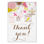 Pink and Yellow Birdcages Spring Floral Thank You Card