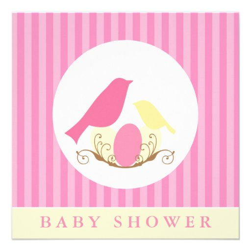 pink and yellow birds nest baby shower custom announcements zazzle
