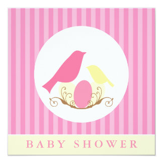 """Pink and Yellow Birds Nest Baby Shower 5.25"""" Square Invitation Card"""