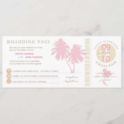 Pink and Yellow Boarding Pass to Thailand Wedding Invitation