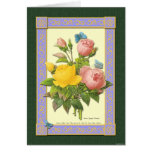 Pink and Yellow Botanical Roses Blank Card Greeting Card