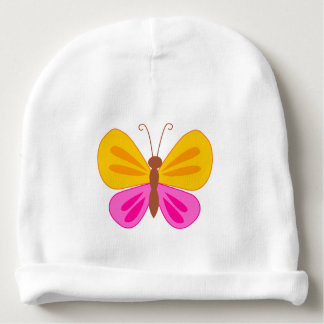 Pink and yellow butterfly baby beanie