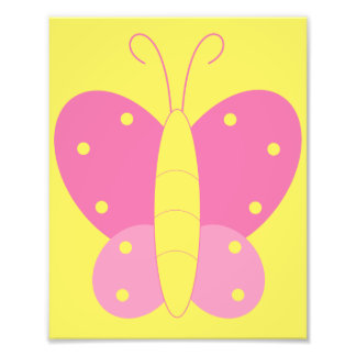 Pink and Yellow Butterfly Print Photograph