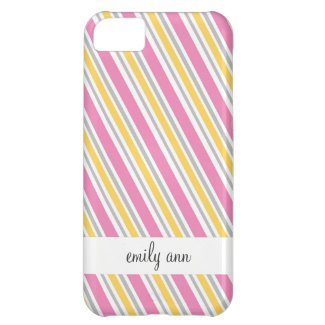 Pink and Yellow Candy Stripes Pattern iPhone 5C Cover