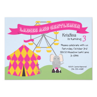Pink and Yellow Carnival Birthday Party Invitation