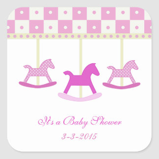 Pink and Yellow Carousel: Baby Shower Stickers