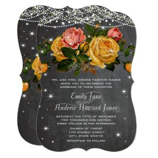 Pink and Yellow Chalkboard Heirloom Rose Wedding Card