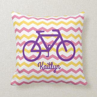 Pink and Yellow Chevron Pillow With Purple Bike