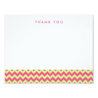 "Pink and Yellow Chevron Thank You Note Cards 4.25"" X 5.5"" Invitation Card"