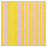 [ Thumbnail: Pink and Yellow Colored Lined/Striped Pattern Fabric ]