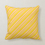 [ Thumbnail: Pink and Yellow Colored Lined/Striped Pattern Throw Pillow ]