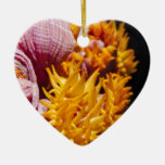 Pink and yellow coral flowers christmas ornament
