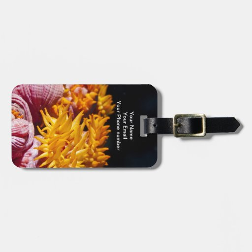 Pink and yellow coral flowers tag for bags